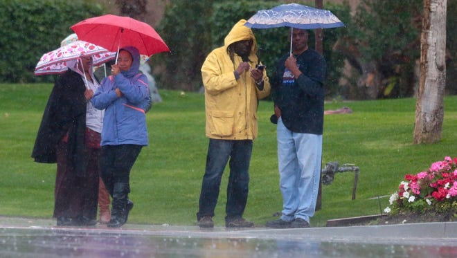 The final wave of a triple stack of Pacific storm systems was expected to bring heavy precipitation and powerful winds Sunday to the Inland Empire.