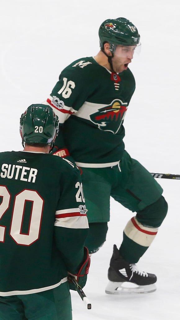 Minnesota Wild's Jason Zucker celebrates his gaol against