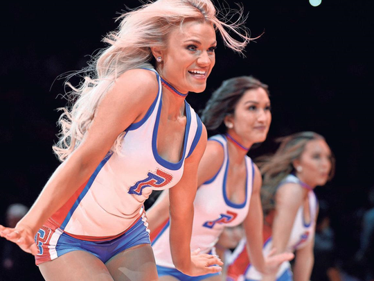 The Pistons' dance team performs at halftime of a game at Little Caesars Arena this season.