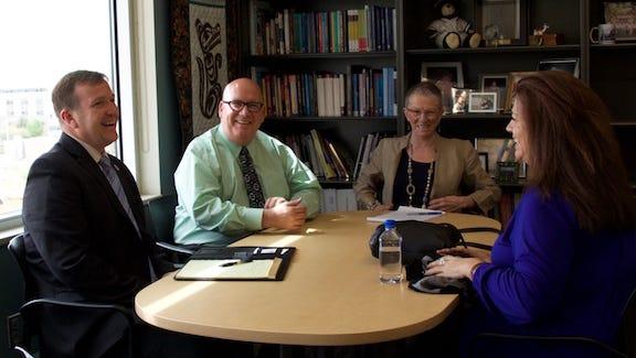 DSU President Richard Williams and Dean Carole Grady meet with Dr. John Houchins and Karen Mulitalo from the U of U School of Medicine.