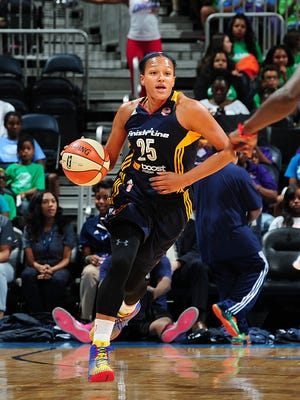 Marissa Coleman of the Indiana Fever dribbles up the court against the Atlanta Dream. June 15, 2015