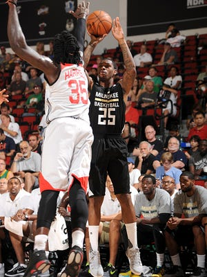 Sean Kilpatrick of the Milwaukee Bucks shoots against the Houston Rockets on July 15 at The Cox Pavilion in Las Vegas.