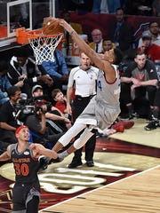 NEW ORLEANS - FEBRUARY 19:  Giannis Antetokounmpo #34 of the Eastern Conference All-Star Team dunks the ball during the 2017 NBA All-Star Game on February 19, 2017 at the Smoothie King Center in New Orleans, Louisiana.