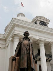 Jefferson Davis statue outside the State Capitol Building