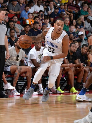 Troy Caupain of the Orlando Magic handles the ball against the Brooklyn Nets during the 2018 Las Vegas Summer League on July 6, 2018 at the Cox Pavilion in Las Vegas, Nevada.