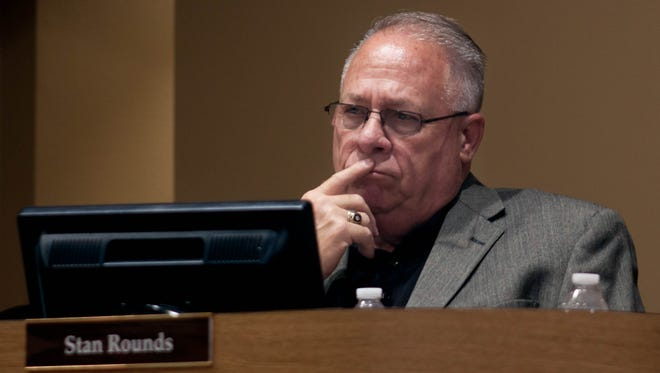 Former Las Cruces Public School Superintended Stan Rounds as he hears the school board announce his resignation to the public, June 14, 2016.