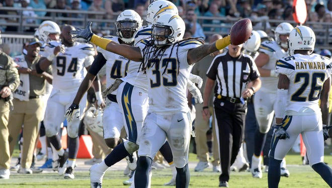 """22. Chargers (17): S Tre Boston picked off TWO passes in final two minutes of regulation Sunday as Bolts tried to salt away three-point lead. """"Tre"""" needed three."""