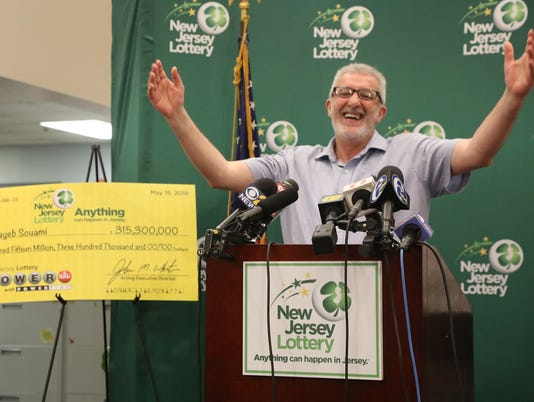 Tayeb Souami of Little Ferry is introduced as the $351.3 Million Powerball Winner purchasing the winning ticket in Hackensack. He purchased  the winning ticket in Hackensack.
