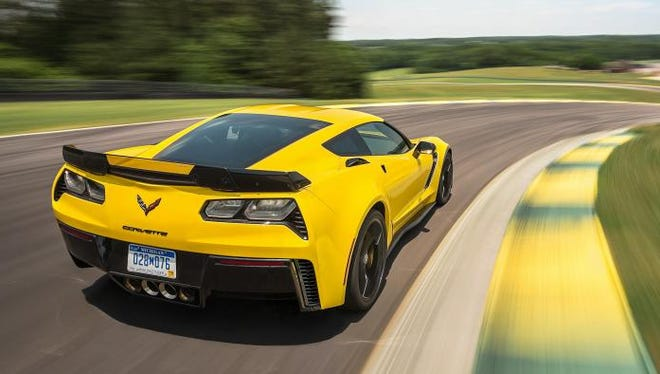 The Corvette Z06 at speed on Virginia International Raceway. The Z06 recorded the second-fastest time in the nine-year history of Car and Driver's Lightning Lap test.
