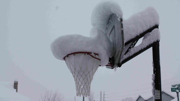 Snow basketball.