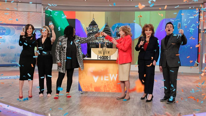 'The View' celebrates 4,000 shows on March 27 with guest co-hosts Barbara Walters and Joy Behar, Rosie Perez, Nicolle Wallace, Whoopi Goldberg and Mario Cantone.