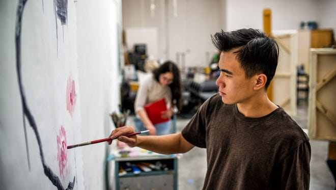 Art student Junchen Huang paints during a class at Western New Mexico University. WNMU has opened registration for the spring semester. The Office of Admissions will hold a registration blitz from 3 p.m. to 7 p.m. on Tuesday, Nov. 3 in the Juan Chacon Building.