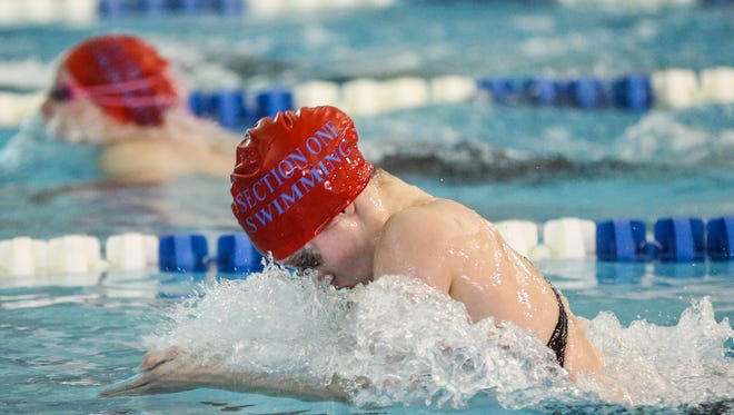 Arlington's Katelyn Walsh competes in the 200-yard IM at the NYS and Federation Girls Swimming & Diving Championships. Walsh placed in 12th in the event with a time of 2:07.92. The event was held at Ithaca College.