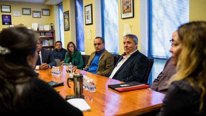 Peter Garcia and Jose Tristan, officials from the Universidad Autonoma de Nuevo Leon, recently visited the Western New Mexico University campus to promote an exchange program.