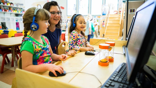 Jessica Torres, teacher in the Pre-K class, interacts with students. The Early Childhood Programs at Western New Mexico University are busy gearing for an upcoming year of growth after experiencing several recent successes.