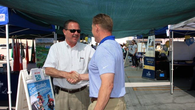 Mayor Jim Lane and former City Councilman Dennis Robbins. Shortly after being hired to serve as Executive Director for the Charros, Mayor Lane asked him to take over leadership of For Our City. Robbins says he is ready for the challenge.