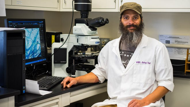 Pictured is WNMU student Gabe Gilmore in a science lab on the Western New Mexico University campus in Silver City, N.M.