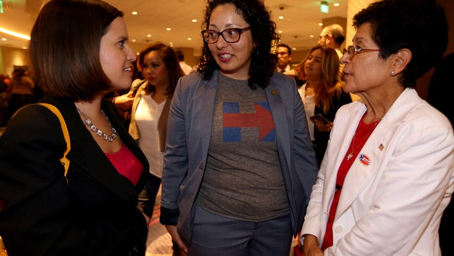 Cristina Garcia (center), state Assemblywoman from Bell Gardens, at a post election gathering of Democratic state legislators at the Bicycle Club Casino in Bell Gardens, CA.