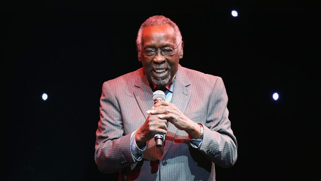 Rockwalk inductee Clyde Stubblefield speaks during Guitar Center's 28th Annual Drum-Off Finals Event at The Novo by Microsoft in January 2017 in Los Angeles