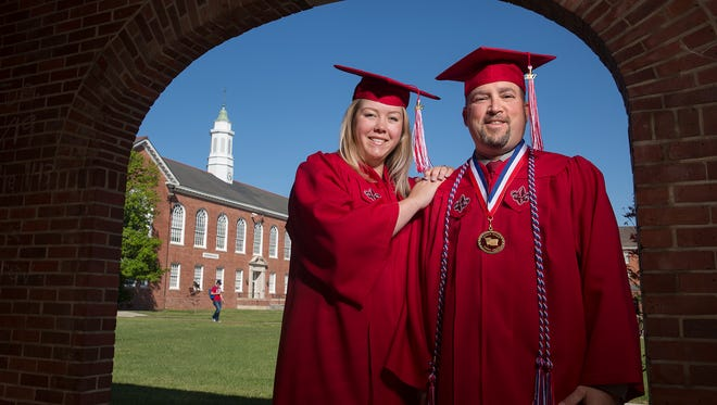 Deron Santiny and daughter Haley Fox will be graduating together at the University of Louisiana at Lafayette Friday.
