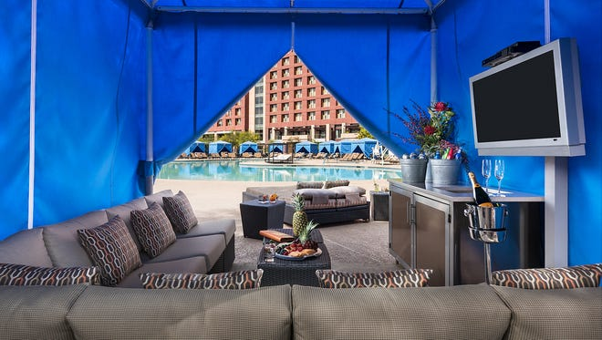 The newly-renovated main pool offers poolside cabanas, canopy daybeds and VIP bottle service during events.