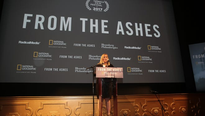 "Nashville Mayor Megan Barry speaks at a screening of the documentary ""From the Ashes"" about the coal industry at The Belcourt Theatre."