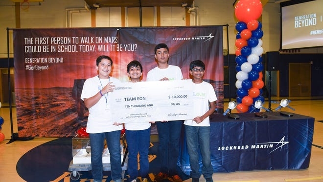 (From left to right) Edison middle schoolers (l to r): Aarav Zutshi, Ujwal Linga, Siddhant Vashisht, Pramodh Miryalav won Lockheed Martin's video challenge competition to design  the living quarters for astronauts' six-month journey to Mars.