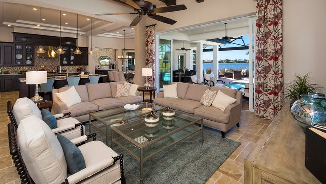 A.R.B.C. Arthur Rutenberg Homes' 3,903-square-foot Amalfi model, Stock Signature Homes' Wyndham model now under construction, and 10 home sites are available for purchase in TwinEagles' Lake Estates neighborhood.