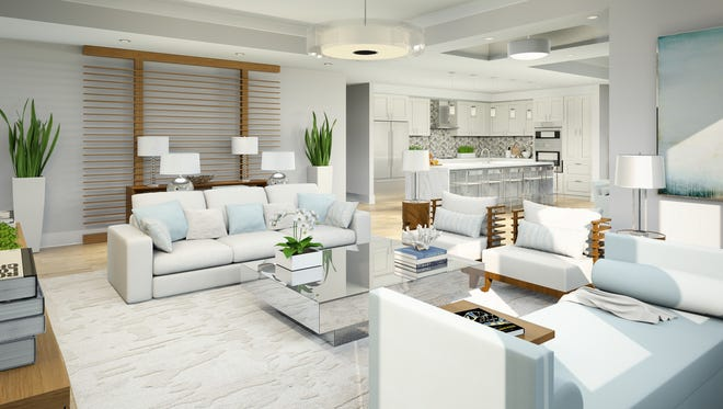Modeled after the 2,934-square-foot under air Phase I Franklin floor plan, the two-story Phase III Fenwick plan at Naples Square offers 3,238 square feet under air.