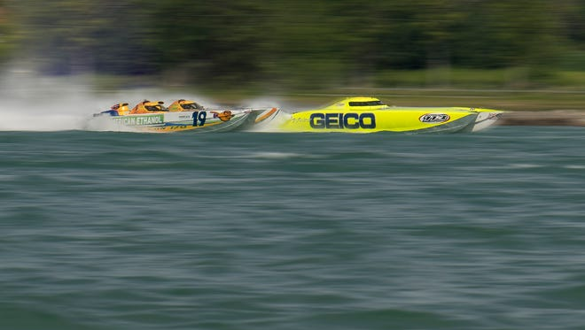 Cat Can Do crashes with Miss GEICO OPA powerboat Sunday, July 30, 2017, during the St. Clair River Classic.