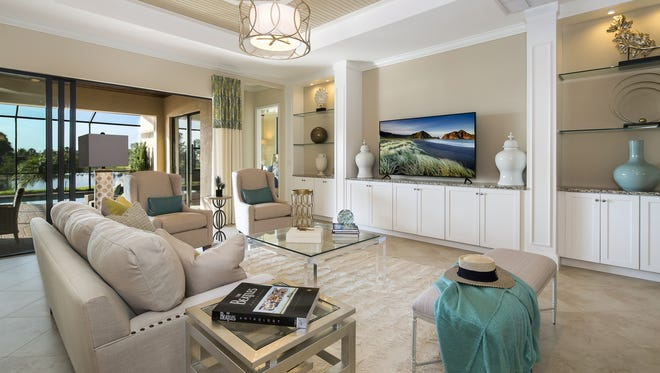 Lennar's Angelina model is one of two furnished models open for viewing in TwinEagles' Kinross neighborhood. Three completed unfurnished, move-in ready Angelina residences are available.