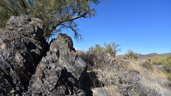 Craggy outcroppings line the Overlook Trail in P.A. Seitts Preserve in Cave Creek.