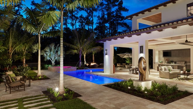 One of eight London Bay Homes' models at Mediterra being featured during the 2018 Parade of Homes, the Catalina model features a pool design.