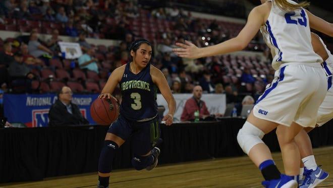 Emilee Maldonado (3) of the Providence Lady Argos handles the ball during a NAIA National Tournament game last season.