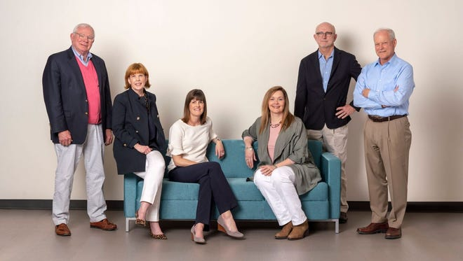 MP&F Strategic Communications partners Mark McNeely, Katy Varney, Alice Chapman, Jennifer Brantley, Keith Miles and David Fox at the firm's downtown Nashville office. McNeely will launch in-house communications consultancy McNeely Brockman Public Relations in June.
