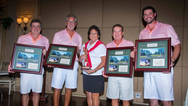 LPGA Tour legend Nancy Lopez poses with Liberty Mutual Invitational winners Dan Riso, Gary Fredenberg, Rick Speranza and Chas Henry on Sunday, May 6, 2018, at Quail West Golf & Country Club.