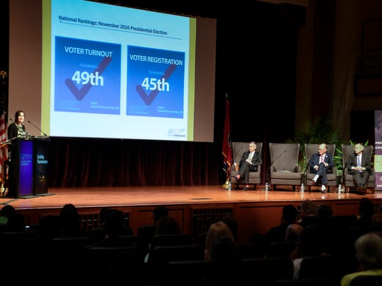 """ThinkTennessee President Shanna Hughey addresses the audience during a Civility Tennessee discussion called """"Why Aren't Tennesseans Voting Like They Should?"""" at Lipscomb University on Monday, Aug. 27, 2018, in Nashville."""