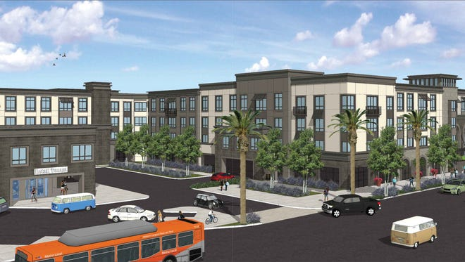 Artist's rendering of proposed 278-unit apartment complex at corner of Tapo and Alamo streets in Simi Valley.