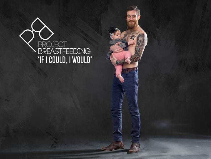 Nashville dad Adam West and his daughter, Althea, pose for Project: Breastfeeding. Clarksville's Hector Cruz started the effort after the birth of his daughter, Sophia. When Cruz's wife, Nicole, was pregnant the only support class in which her husband was not allowed was breastfeeding. Since that time, he has been moved to change the culture, including with this photo project.