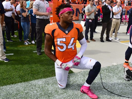 Broncos LB Brandon Marshall ends national anthem protest