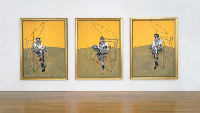 Francis Bacon's 'Three Studies of Lucian Freud' on display at Christie's in New York.