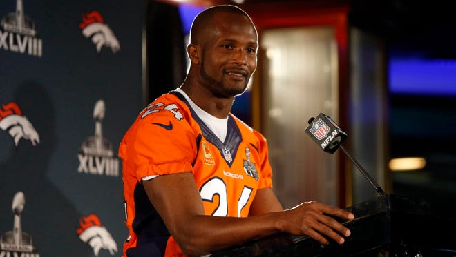 Denver Broncos cornerback Champ Bailey (24) during a press conference for Super Bowl XLVIII in Jersey City.