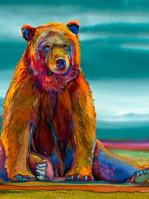"""A painting by Nancy Dunlop Cawdrey, """"Teddy,"""" 34 by 32 inches, dye on silk, is shown."""