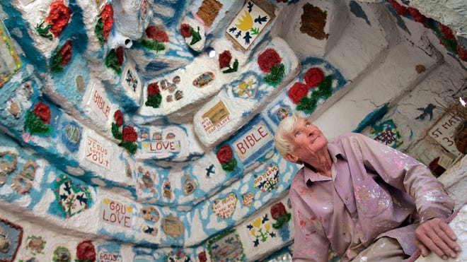 12/16/06 Photo by Ramon Mena Owens. Leonard Knight is the creator of Salvation Mountain at the entrance of Slab City, a montage of paint and found discarded objects from the desert adorn his residence.