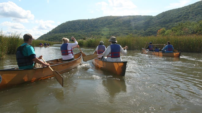 Participants in the 2012 Hudson River Valley Ramble paddled among marsh plants at the Hudson Highlands' Iona State Park at Stony Point in Ulster County.