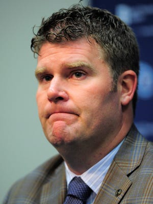Titans general manager Jon Robinson answers questions about their second round picks in the 2016 NFL draft at St. Thomas Sports Park Friday April 29, 2016, in Nashville, Tenn.