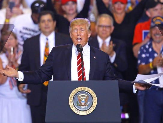 President Donald Trump speaks during the Make America