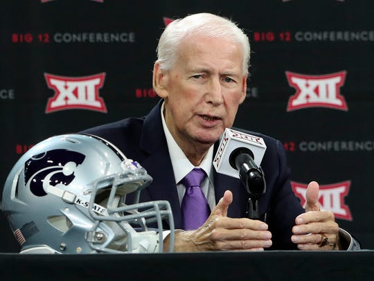 Kansas State head coach Bill Snyder speaks to the media