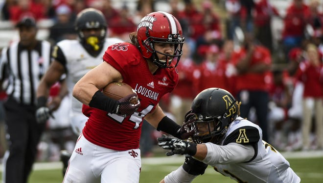 UL wide receiver Gabe Fuselier (24) runs against Appalachian State during a 2014 game.