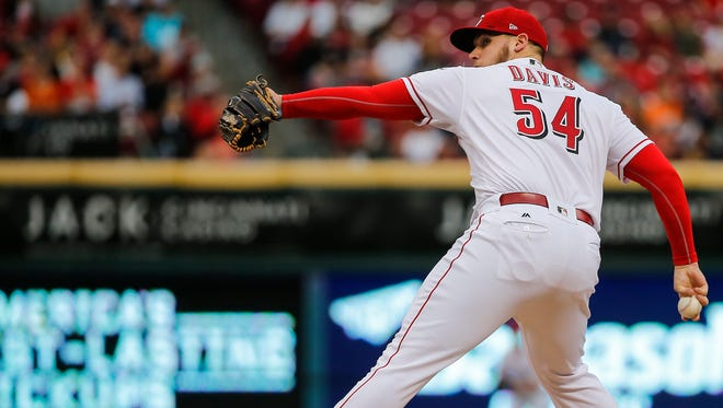 Cincinnati Reds starting pitcher Rookie Davis (54) delivers in the second inning during the interleague baseball game between the New York Yankees and the Cincinnati Reds, Monday, May 8, 2017, at Great American Ball Park in Cincinnati.